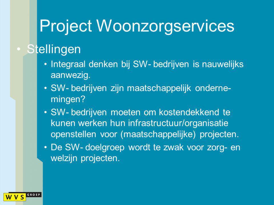 Project Woonzorgservices Stellingen Integraal denken bij SW- bedrijven is nauwelijks aanwezig. SW- bedrijven zijn maatschappelijk onderne- mingen? SW-