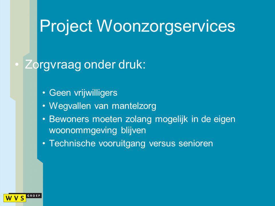Project Woonzorgservices Zorgvraag onder druk: Geen vrijwilligers Wegvallen van mantelzorg Bewoners moeten zolang mogelijk in de eigen woonommgeving b