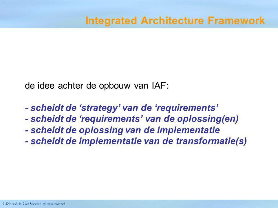 © 2004 prof. dr. Daan Rijsenbrij - All rights reserved Integrated Architecture Framework de idee achter de opbouw van IAF: - scheidt de 'strategy' van