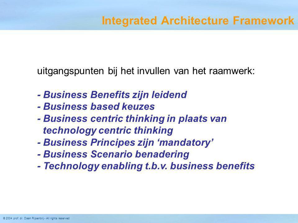 © 2004 prof. dr. Daan Rijsenbrij - All rights reserved Integrated Architecture Framework uitgangspunten bij het invullen van het raamwerk: - Business