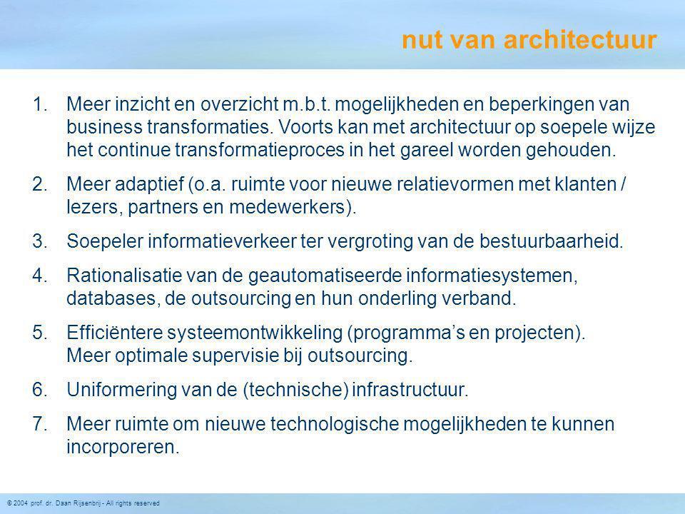 © 2004 prof. dr. Daan Rijsenbrij - All rights reserved 1.Meer inzicht en overzicht m.b.t. mogelijkheden en beperkingen van business transformaties. Vo
