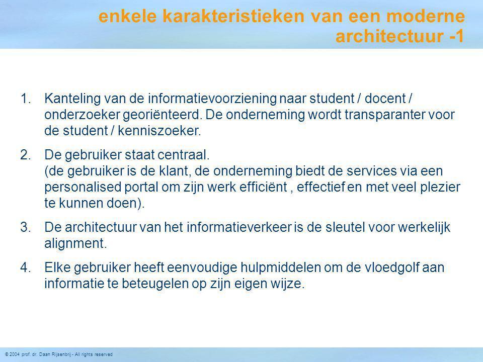 © 2004 prof. dr. Daan Rijsenbrij - All rights reserved 1.Kanteling van de informatievoorziening naar student / docent / onderzoeker georiënteerd. De o