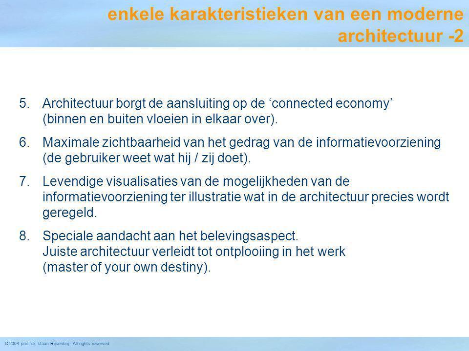 © 2004 prof. dr. Daan Rijsenbrij - All rights reserved 5.Architectuur borgt de aansluiting op de 'connected economy' (binnen en buiten vloeien in elka