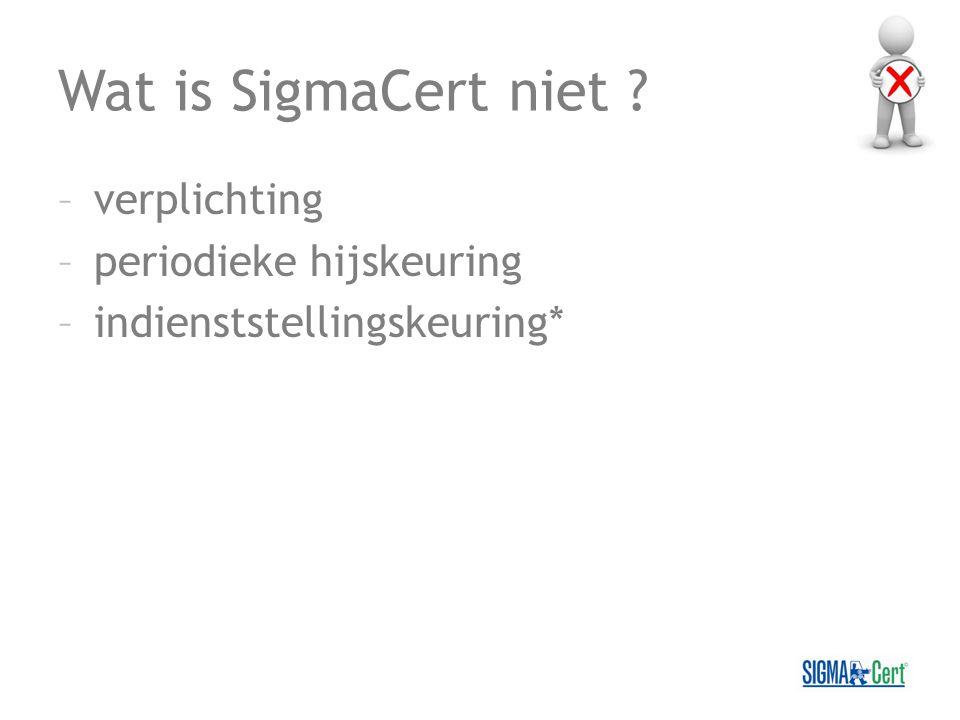 Wat is SigmaCert niet ? –verplichting –periodieke hijskeuring –indienststellingskeuring*