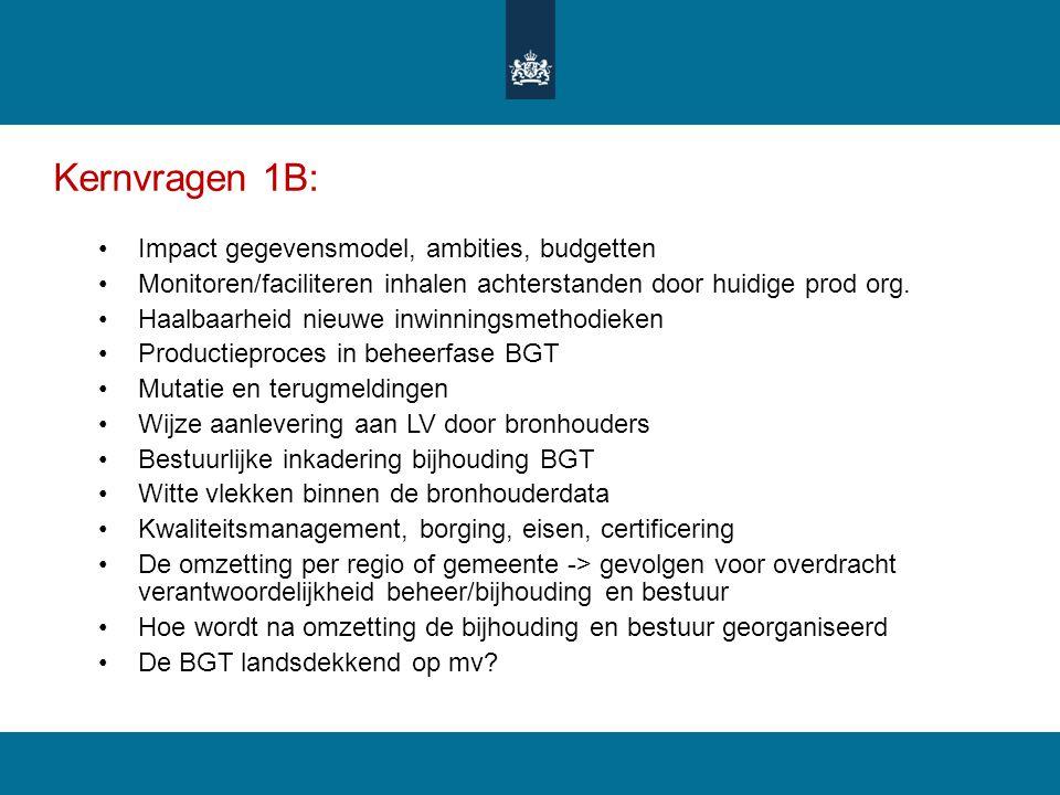 Kernvragen 1B: Impact gegevensmodel, ambities, budgetten Monitoren/faciliteren inhalen achterstanden door huidige prod org. Haalbaarheid nieuwe inwinn