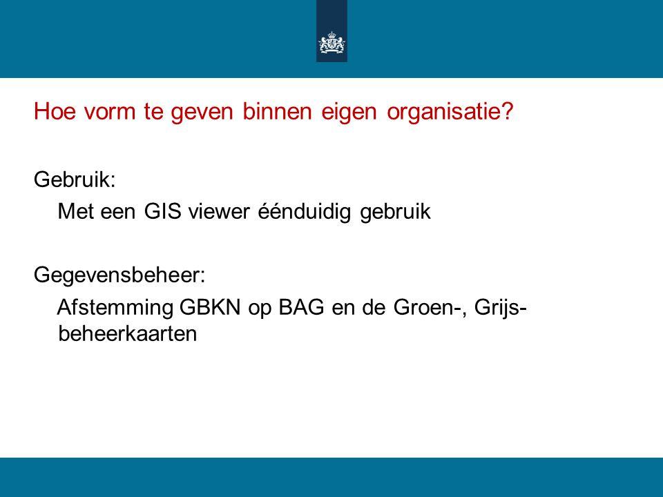 Hoe vorm te geven binnen eigen organisatie? Gebruik: Met een GIS viewer éénduidig gebruik Gegevensbeheer: Afstemming GBKN op BAG en de Groen-, Grijs-