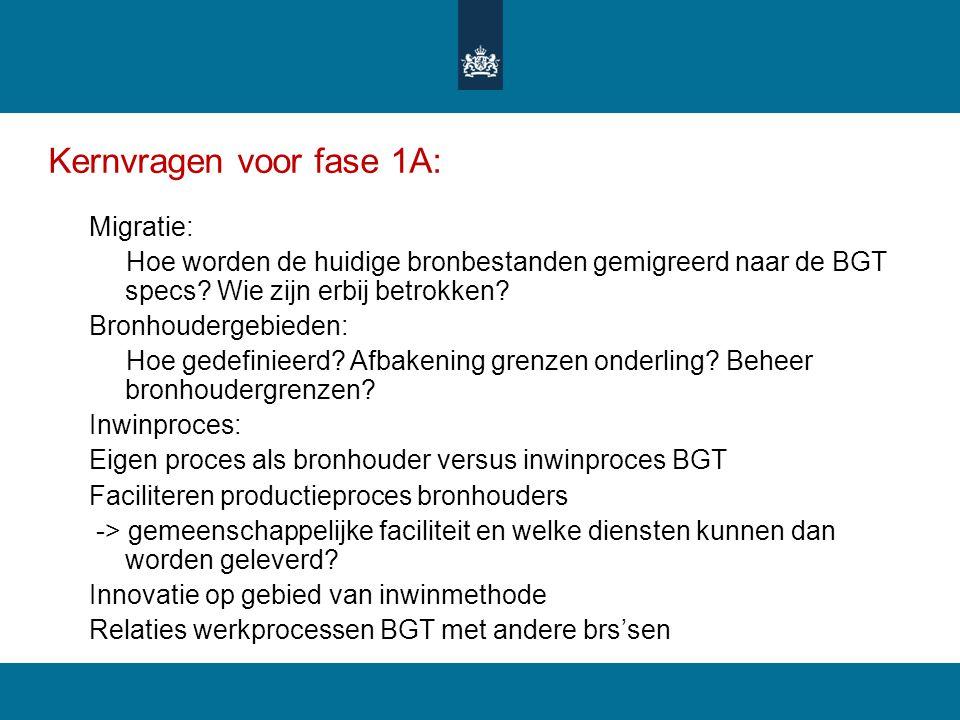 Kernvragen voor fase 1A: Migratie: Hoe worden de huidige bronbestanden gemigreerd naar de BGT specs? Wie zijn erbij betrokken? Bronhoudergebieden: Hoe