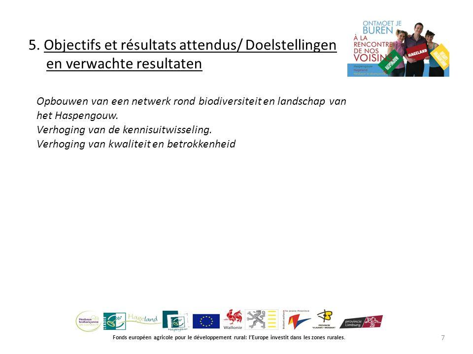 5. Objectifs et résultats attendus/ Doelstellingen en verwachte resultaten Fonds européen agricole pour le développement rural: l'Europe investit dans