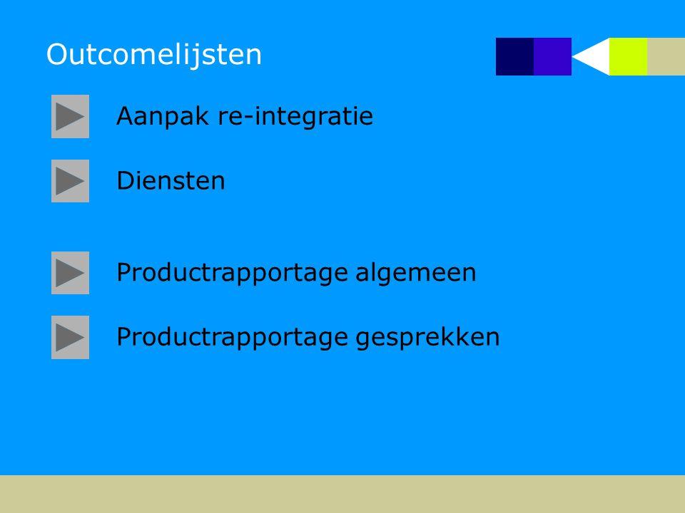 Outcomelijsten Aanpak re-integratie Diensten Productrapportage algemeen Productrapportage gesprekken