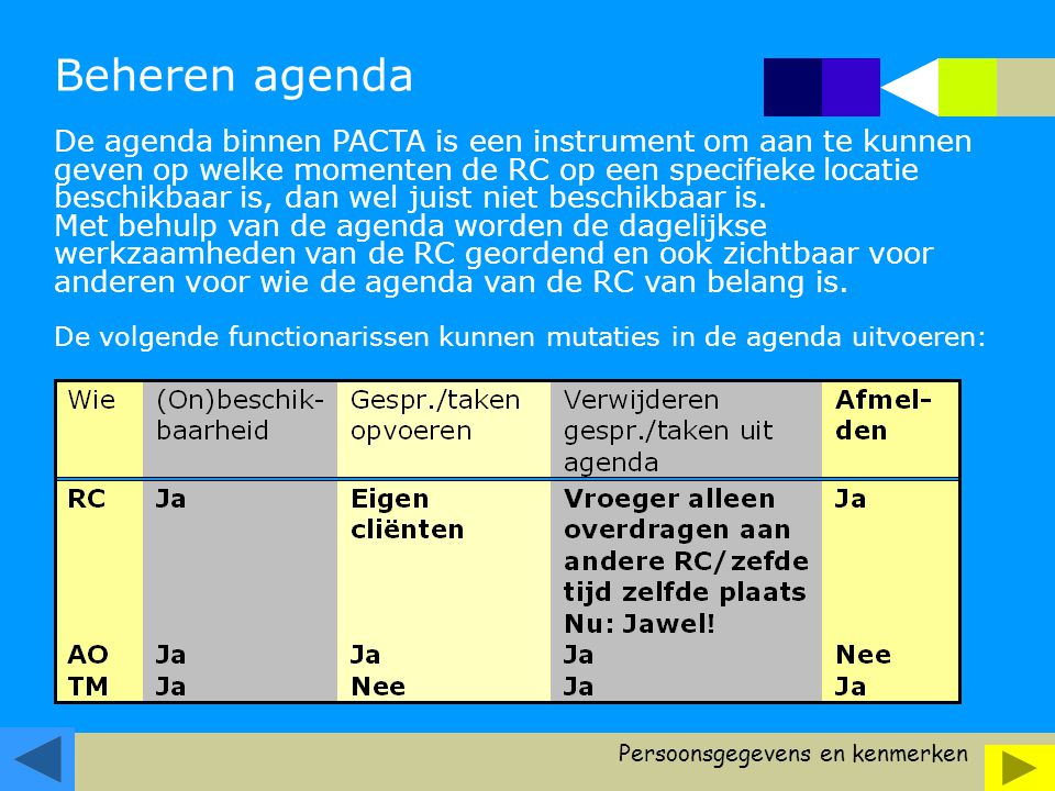 Beheren agenda De agenda binnen PACTA is een instrument om aan te kunnen geven op welke momenten de RC op een specifieke locatie beschikbaar is, dan wel juist niet beschikbaar is.