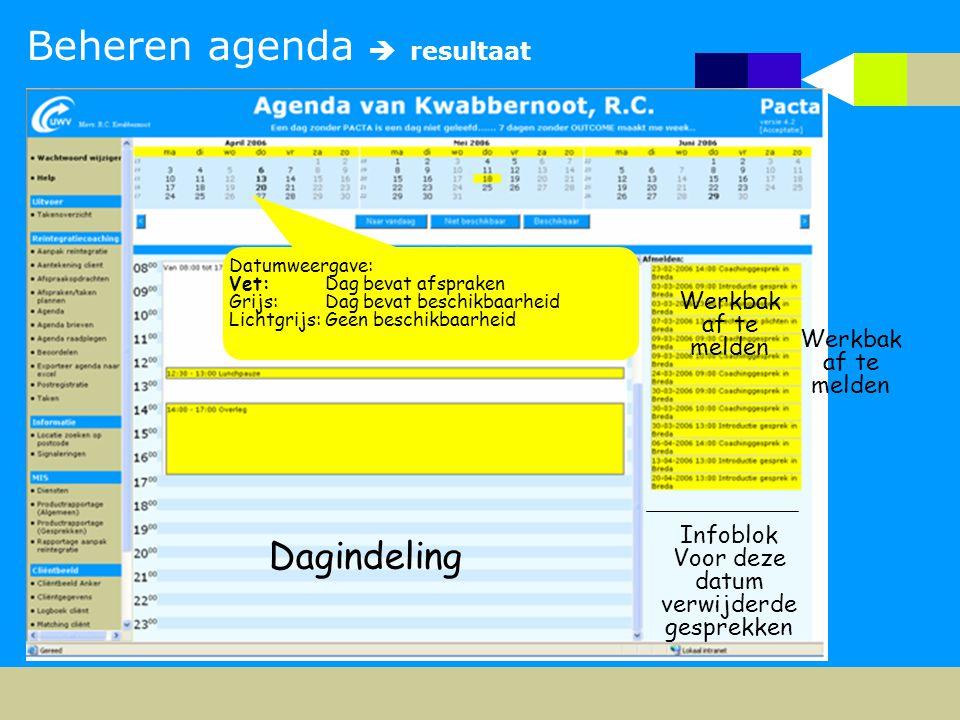 Beheren agenda  resultaat Dagindeling Werkbak af te melden Infoblok Voor deze datum verwijderde gesprekken Datumweergave: Vet: Dag bevat afspraken Gr