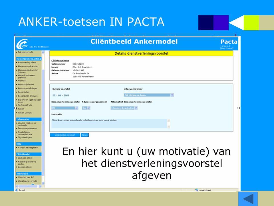 ANKER-toetsen IN PACTA In Pacta kunnen alle resultaten van de toetsen worden vastgelegd, samen met het dienst verleningsvcorstel. Een toets kan meerde