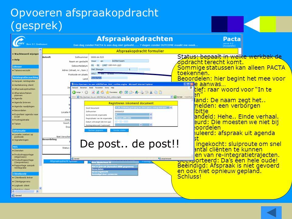 Opvoeren afspraakopdracht (gesprek) Periodedata: Van belang voor: Inplannen Signalering Periodedata: Van belang voor: Inplannen Signalering Postcode b