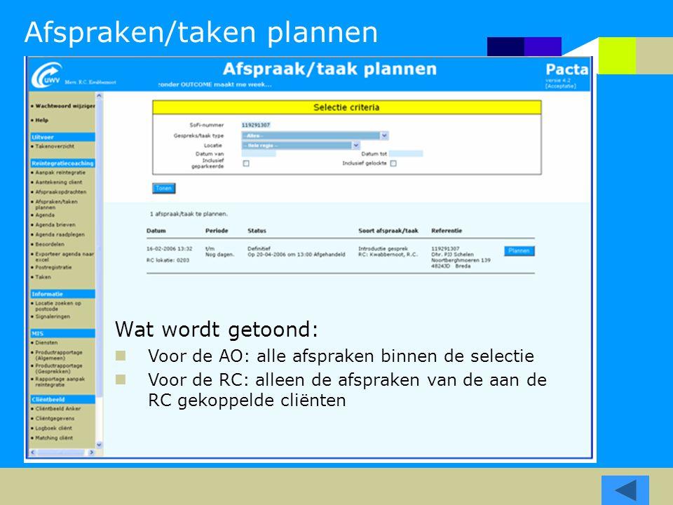 Afspraken/taken plannen Wat wordt getoond: Voor de AO: alle afspraken binnen de selectie Voor de RC: alleen de afspraken van de aan de RC gekoppelde cliënten