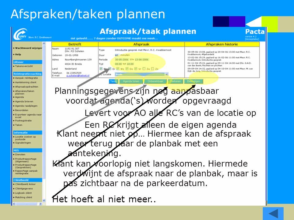 Afspraken/taken plannen Planningsgegevens zijn nog aanpasbaar voordat agenda('s) worden opgevraagd Levert voor AO alle RC's van de locatie op Een RC k
