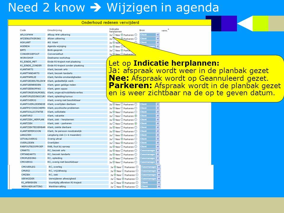 Need 2 know  Wijzigen in agenda Let op Indicatie herplannen: Ja: afspraak wordt weer in de planbak gezet Nee: Afspraak wordt op Geannuleerd gezet.