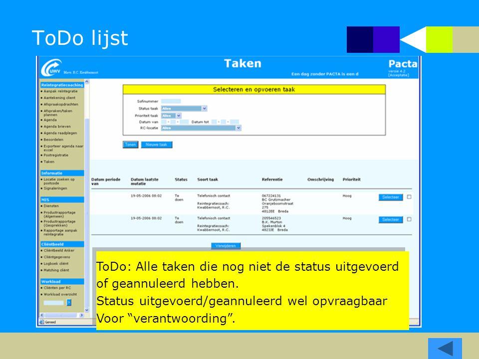 """ToDo lijst ToDo: Alle taken die nog niet de status uitgevoerd of geannuleerd hebben. Status uitgevoerd/geannuleerd wel opvraagbaar Voor """"verantwoordin"""