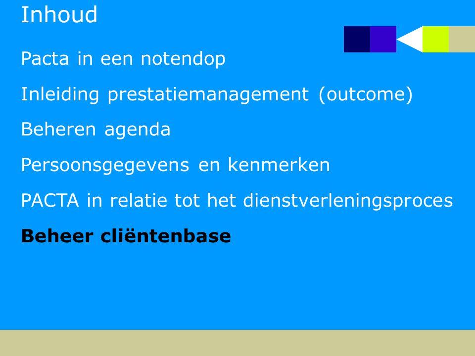Inhoud Pacta in een notendop Inleiding prestatiemanagement (outcome) Beheren agenda Persoonsgegevens en kenmerken PACTA in relatie tot het dienstverle