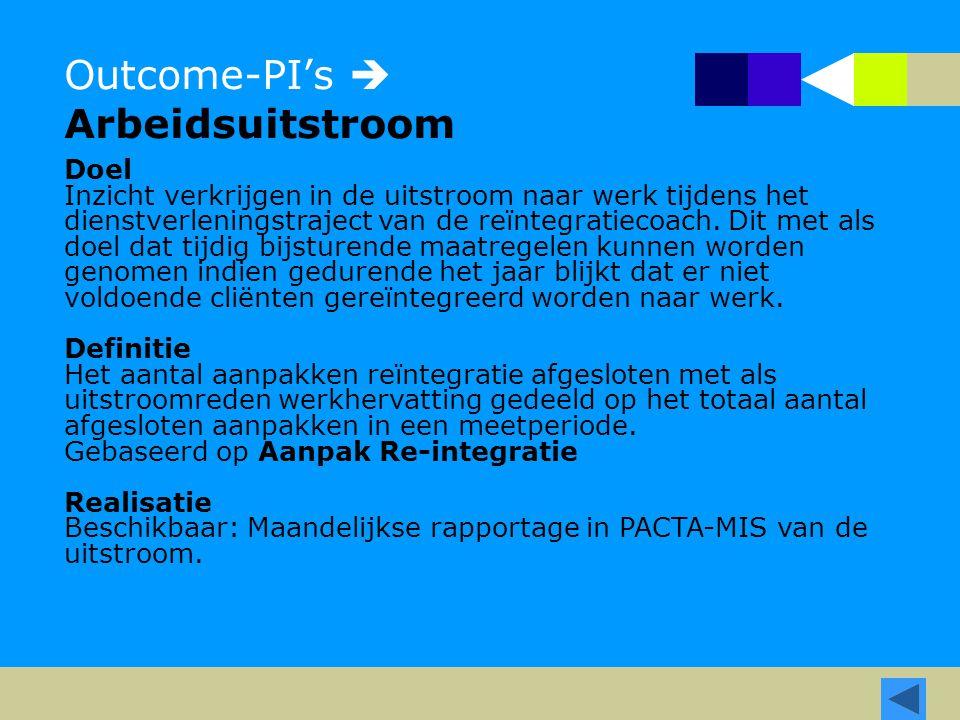 Outcome-PI's  Arbeidsuitstroom Doel Inzicht verkrijgen in de uitstroom naar werk tijdens het dienstverleningstraject van de reïntegratiecoach. Dit me