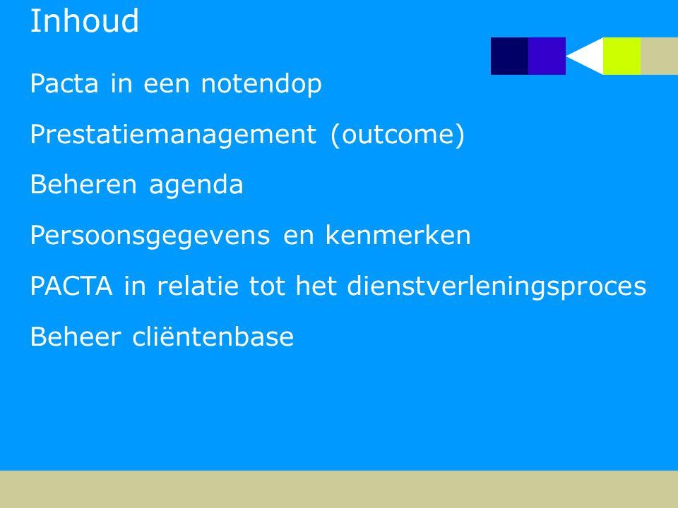 Inhoud Pacta in een notendop Prestatiemanagement (outcome) Beheren agenda Persoonsgegevens en kenmerken PACTA in relatie tot het dienstverleningsproces Beheer cliëntenbase