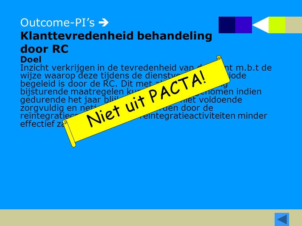 Outcome-PI's  Klanttevredenheid behandeling door RC Doel Inzicht verkrijgen in de tevredenheid van de cliënt m.b.t de wijze waarop deze tijdens de dienstverleningsperiode begeleid is door de RC.