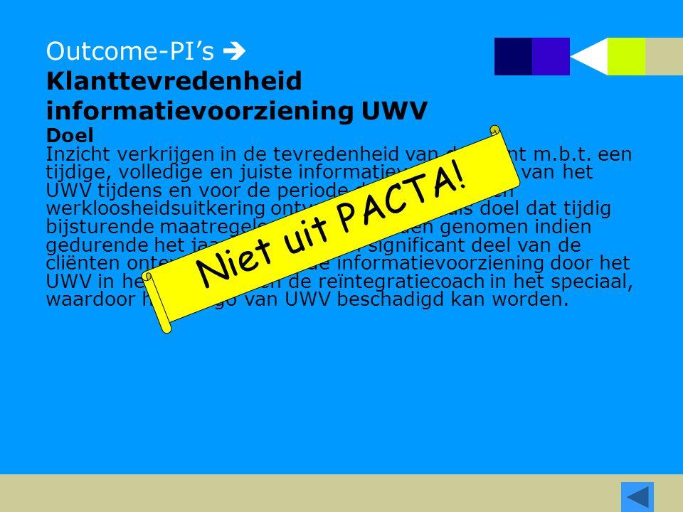Outcome-PI's  Klanttevredenheid informatievoorziening UWV Doel Inzicht verkrijgen in de tevredenheid van de cliënt m.b.t. een tijdige, volledige en j