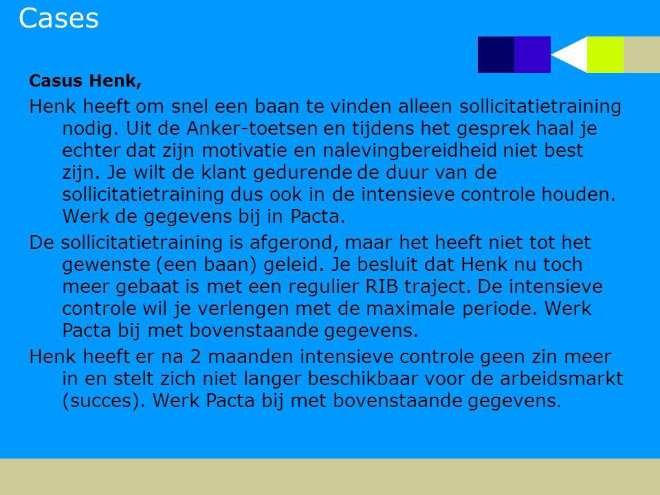 Cases Casus Henk, Henk heeft om snel een baan te vinden alleen sollicitatietraining nodig.
