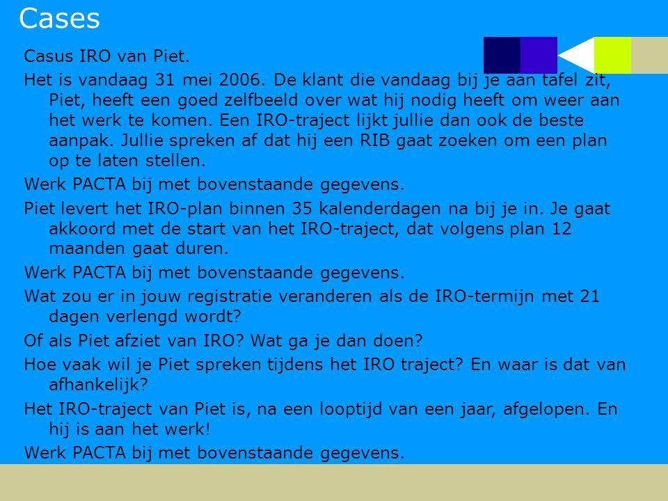 Cases Casus IRO van Piet. Het is vandaag 31 mei 2006. De klant die vandaag bij je aan tafel zit, Piet, heeft een goed zelfbeeld over wat hij nodig hee
