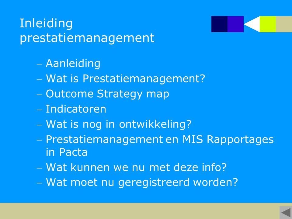Inleiding prestatiemanagement Aanleiding Wat is Prestatiemanagement? Outcome Strategy map Indicatoren Wat is nog in ontwikkeling? Prestatiemanag