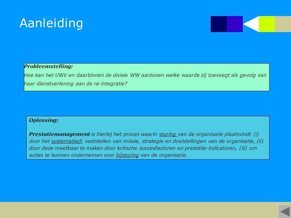 Aanleiding Oplossing: Prestatiemanagement is hierbij het proces waarin sturing van de organisatie plaatsvindt (i) door het systematisch vaststellen van missie, strategie en doelstellingen van de organisatie, (ii) door deze meetbaar te maken door kritische succesfactoren en prestatie-indicatoren, (iii) om acties te kunnen ondernemen voor bijsturing van de organisatie.
