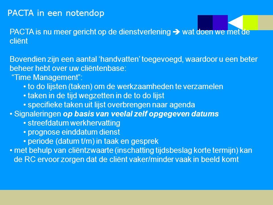 PACTA in een notendop PACTA is nu meer gericht op de dienstverlening  wat doen we met de cliënt Bovendien zijn een aantal 'handvatten' toegevoegd, wa