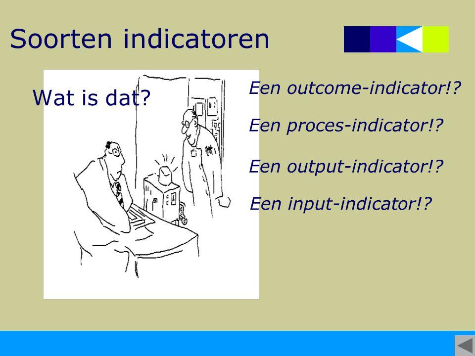 Soorten indicatoren Wat is dat? Een outcome-indicator!? Een proces-indicator!? Een output-indicator!? Een input-indicator!?