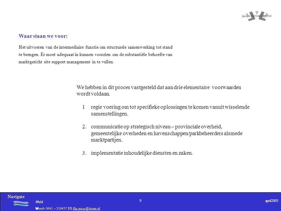 Navigate JPhM 9april2003 Waar staan we voor: Het uitvoeren van de intermediaire functie om structurele samenwerking tot stand te brengen. Er moet adeq