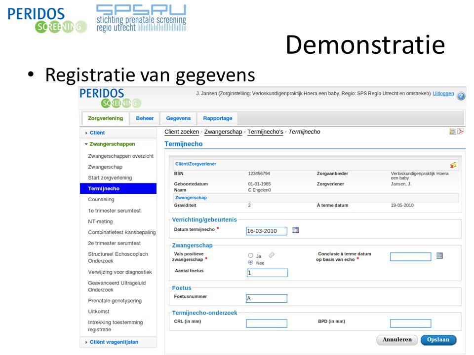 Demonstratie Registratie van gegevens