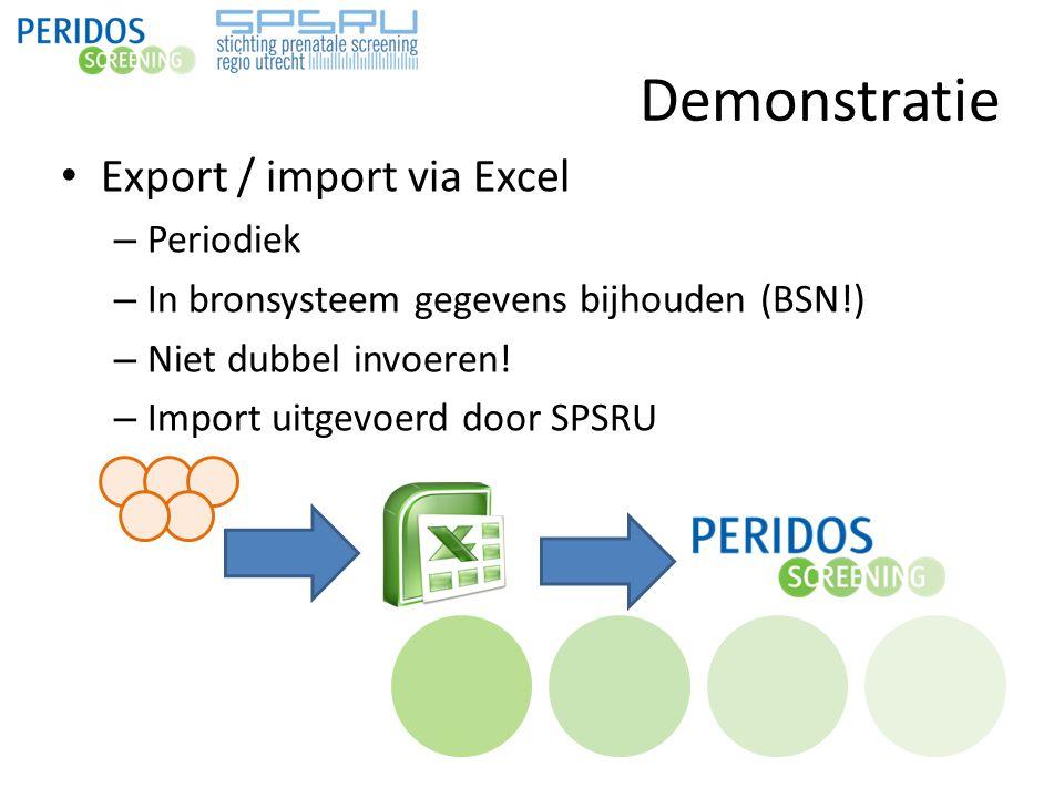 Demonstratie Export / import via Excel – Periodiek – In bronsysteem gegevens bijhouden (BSN!) – Niet dubbel invoeren! – Import uitgevoerd door SPSRU