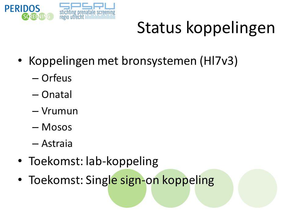 Status koppelingen Koppelingen met bronsystemen (Hl7v3) – Orfeus – Onatal – Vrumun – Mosos – Astraia Toekomst: lab-koppeling Toekomst: Single sign-on