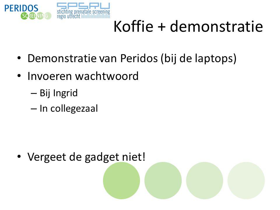 Koffie + demonstratie Demonstratie van Peridos (bij de laptops) Invoeren wachtwoord – Bij Ingrid – In collegezaal Vergeet de gadget niet!