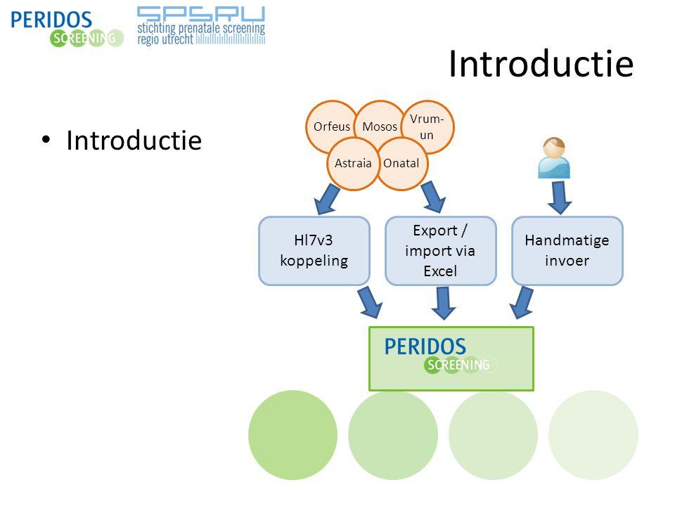 Introductie OrfeusMosos Vrum- un OnatalAstraia Hl7v3 koppeling Export / import via Excel Handmatige invoer