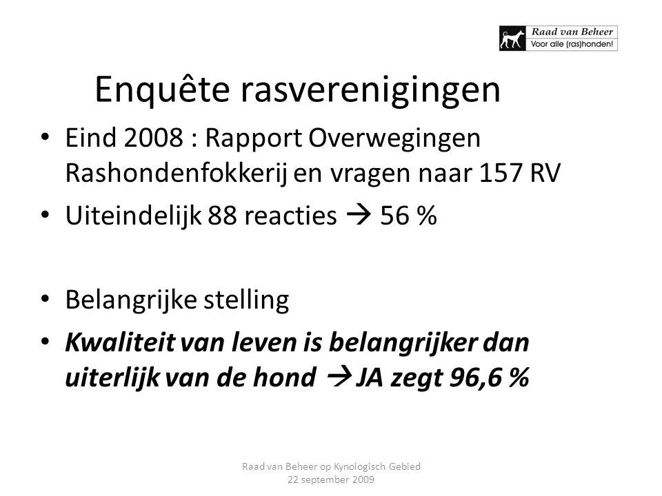 Enquête rasverenigingen Eind 2008 : Rapport Overwegingen Rashondenfokkerij en vragen naar 157 RV Uiteindelijk 88 reacties  56 % Belangrijke stelling