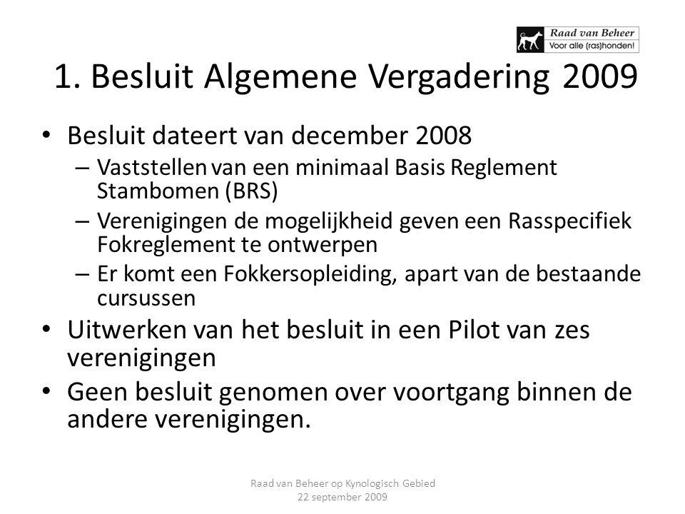 1. Besluit Algemene Vergadering 2009 Besluit dateert van december 2008 – Vaststellen van een minimaal Basis Reglement Stambomen (BRS) – Verenigingen d
