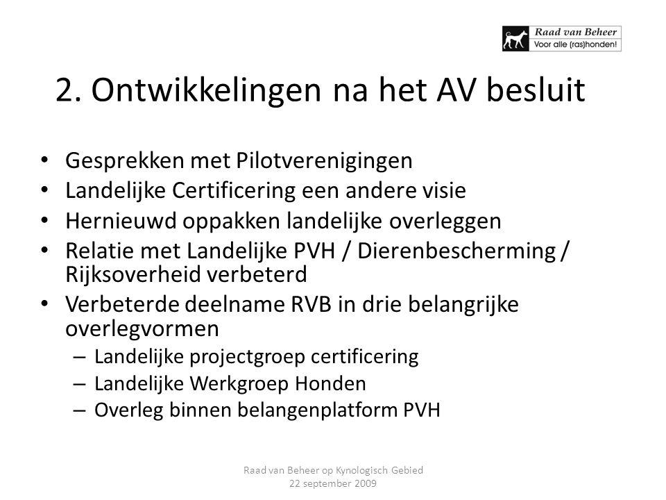2. Ontwikkelingen na het AV besluit Gesprekken met Pilotverenigingen Landelijke Certificering een andere visie Hernieuwd oppakken landelijke overlegge