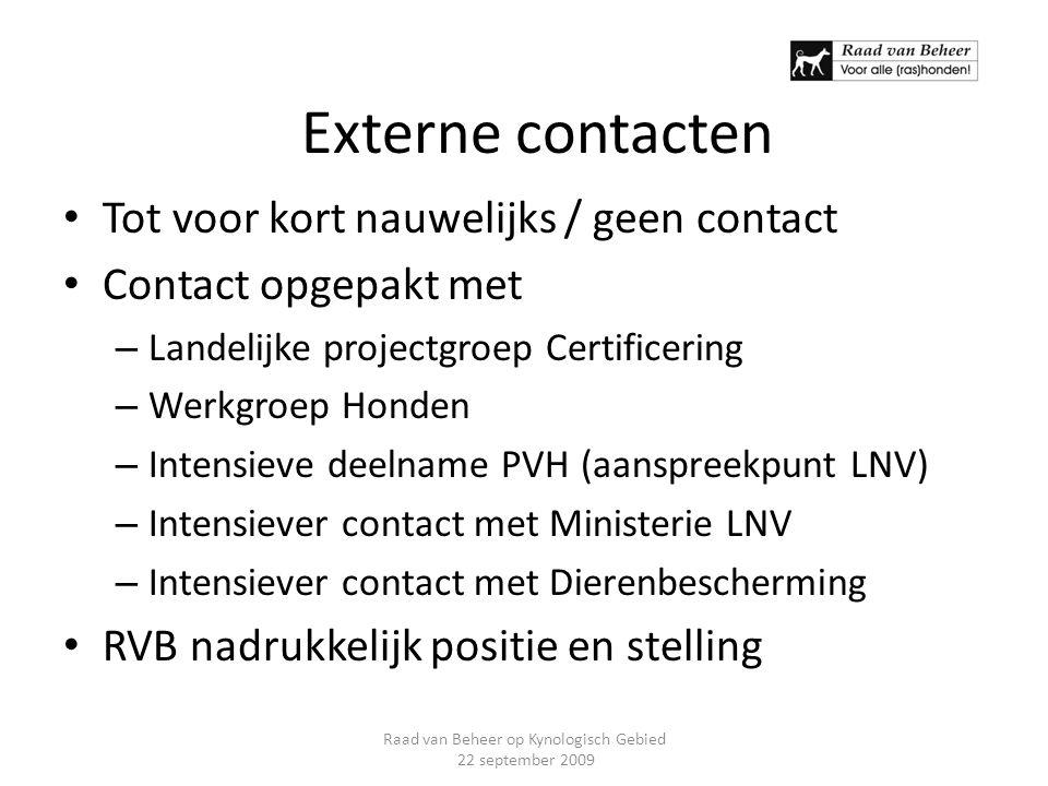 Externe contacten Tot voor kort nauwelijks / geen contact Contact opgepakt met – Landelijke projectgroep Certificering – Werkgroep Honden – Intensieve