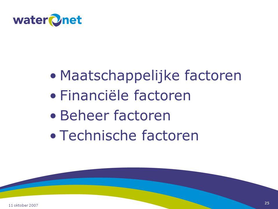 11 oktober 2007 25 Maatschappelijke factoren Financiële factoren Beheer factoren Technische factoren