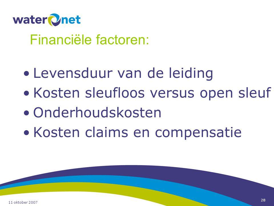 11 oktober 2007 28 Levensduur van de leiding Kosten sleufloos versus open sleuf Onderhoudskosten Kosten claims en compensatie Financiële factoren: