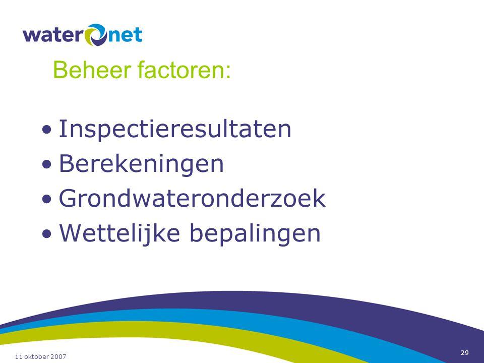 11 oktober 2007 29 Inspectieresultaten Berekeningen Grondwateronderzoek Wettelijke bepalingen Beheer factoren: