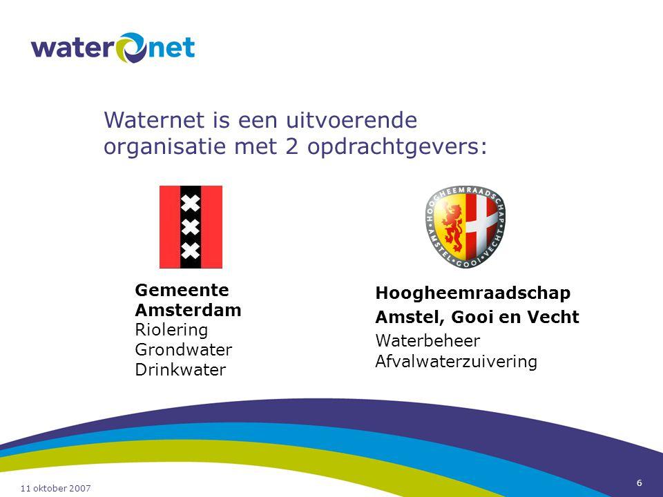 11 oktober 2007 6 Hoogheemraadschap Amstel, Gooi en Vecht Waterbeheer Afvalwaterzuivering Gemeente Amsterdam Riolering Grondwater Drinkwater Waternet