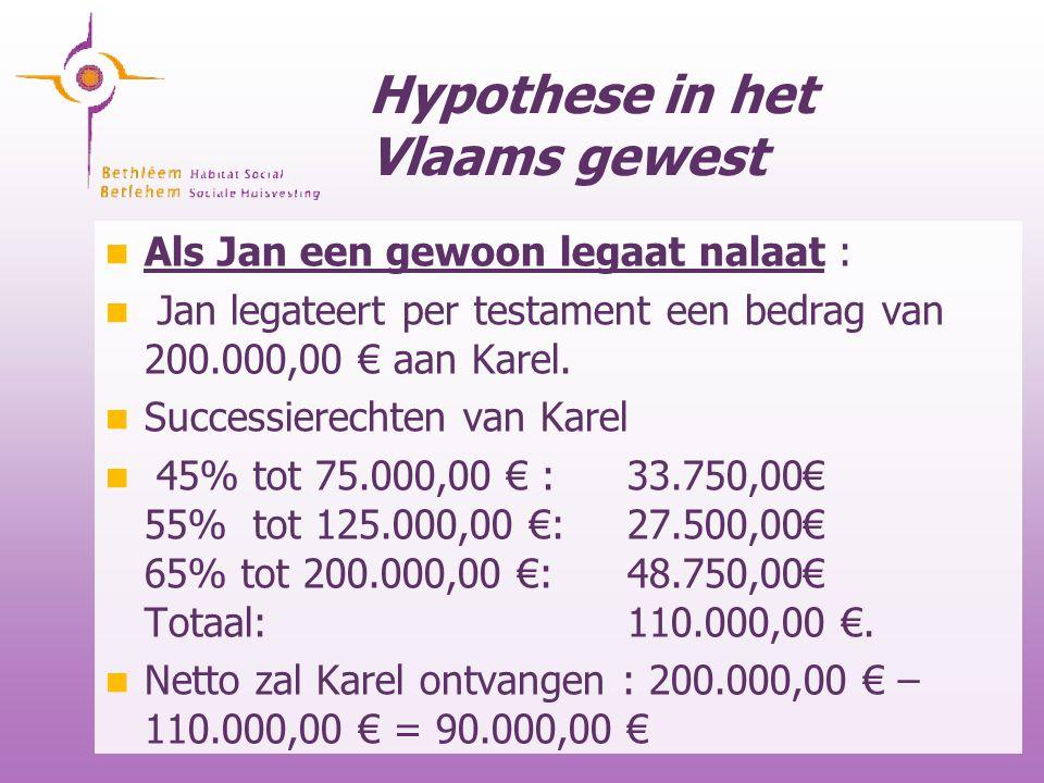 Hypothese in het Vlaams gewest Als Jan een gewoon legaat nalaat : Jan legateert per testament een bedrag van 200.000,00 € aan Karel. Successierechten