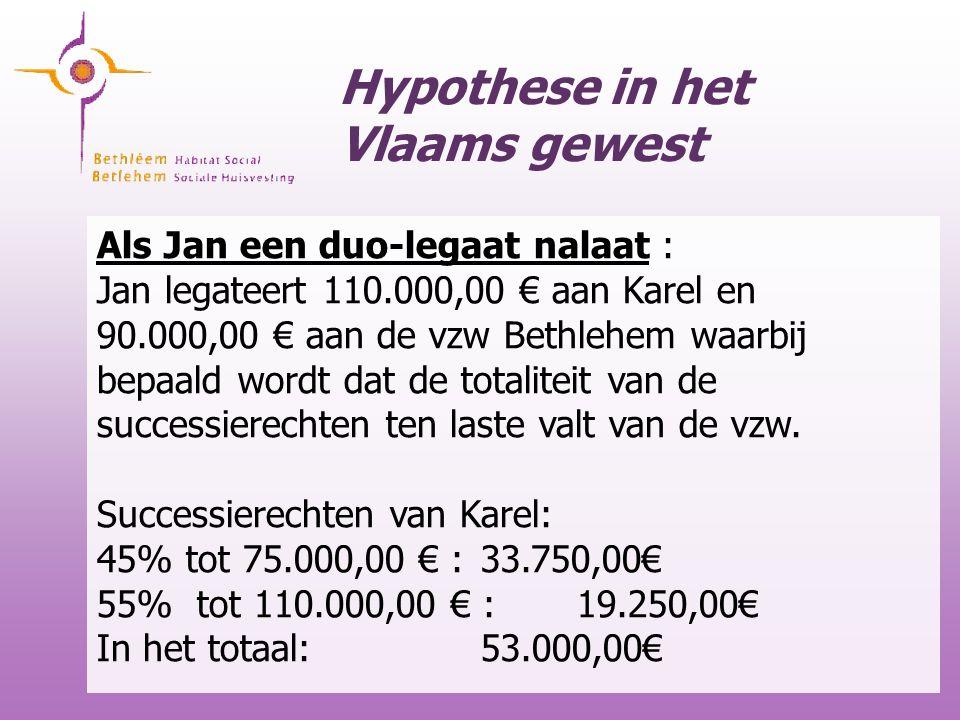 Hypothese in het Vlaams gewest Als Jan een duo-legaat nalaat : Jan legateert 110.000,00 € aan Karel en 90.000,00 € aan de vzw Bethlehem waarbij bepaal