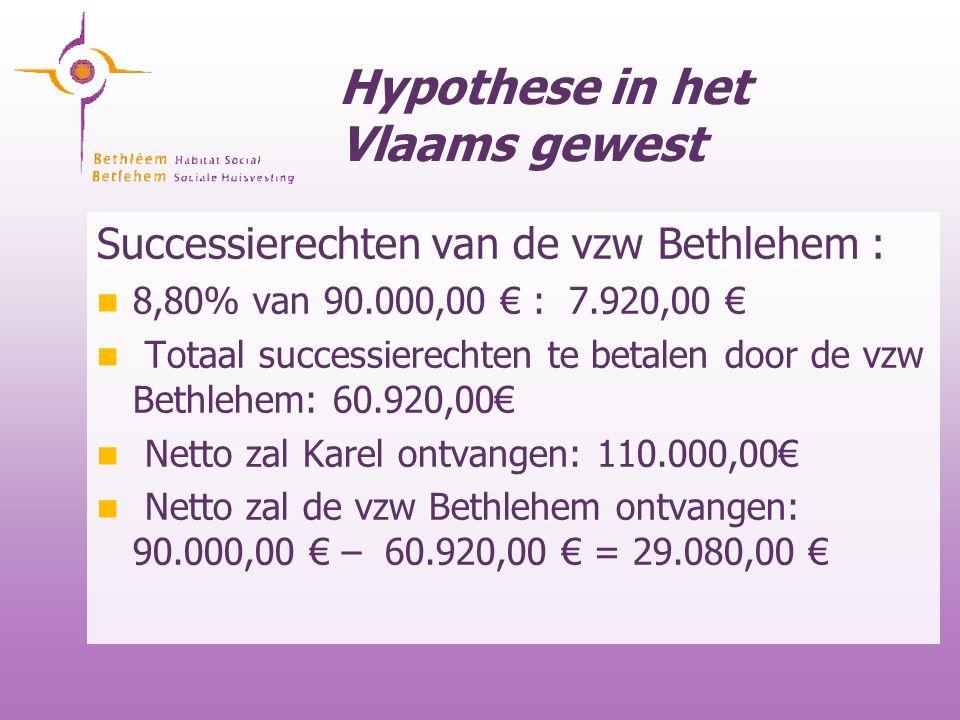 Hypothese in het Vlaams gewest Successierechten van de vzw Bethlehem : 8,80% van 90.000,00 € : 7.920,00 € Totaal successierechten te betalen door de v