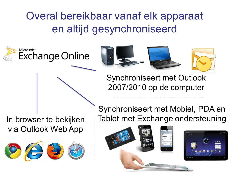 Overal bereikbaar vanaf elk apparaat en altijd gesynchroniseerd Synchroniseert met Outlook 2007/2010 op de computer Synchroniseert met Mobiel, PDA en Tablet met Exchange ondersteuning In browser te bekijken via Outlook Web App